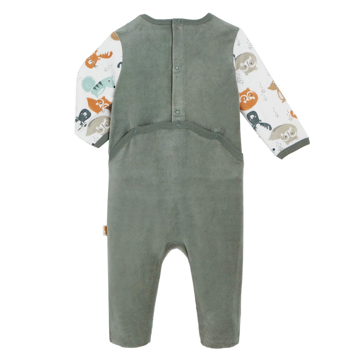 Pyjama bébé en velours contenant du coton bio Noisette dos