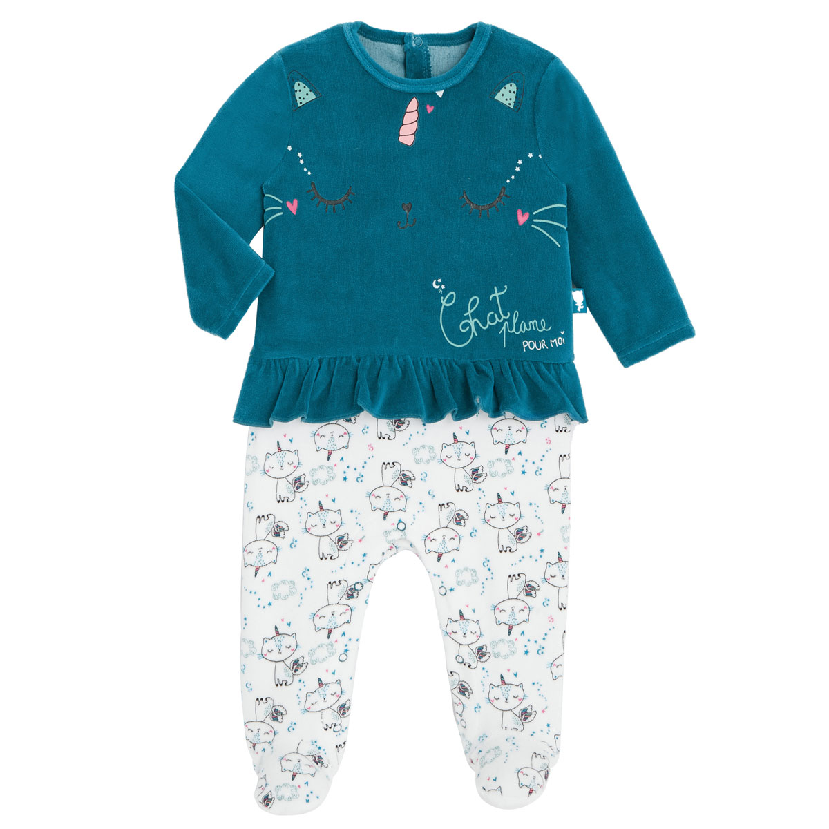 Pyjama bébé en velours contenant du coton bio Chat Plane