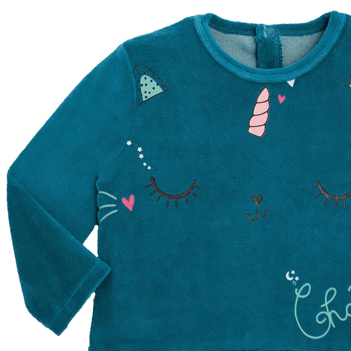 Pyjama bébé en velours contenant du coton bio Chat Plane zoom