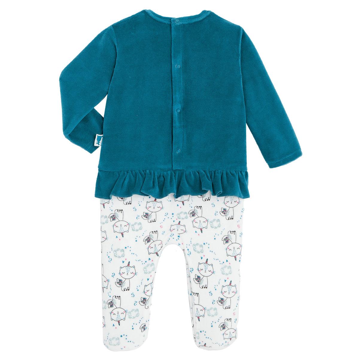 Pyjama bébé en velours contenant du coton bio Chat Plane dos