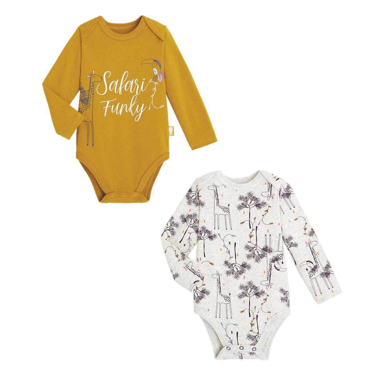 Lot de 2 bodies bébé fille manches longues contenant du coton bio Funky Safari