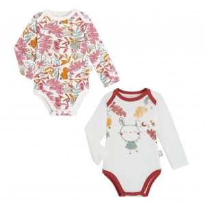 Lot de 2 bodies bébé fille manches longues contenant du coton bio BonjourAmour