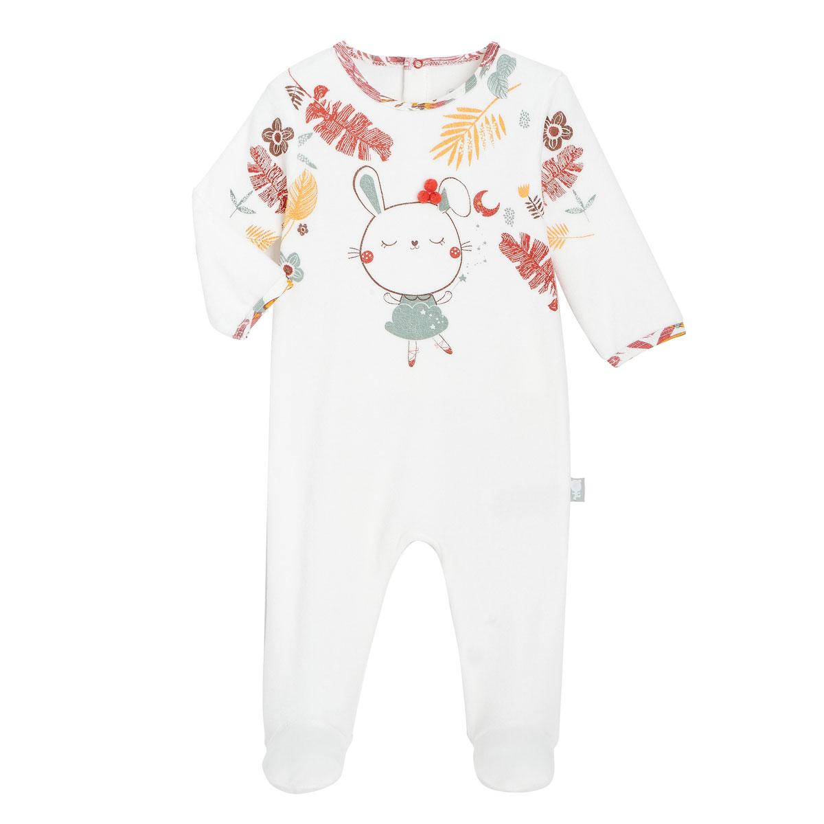 Pyjama bébé en velours contenant du coton bio BonjourAmour