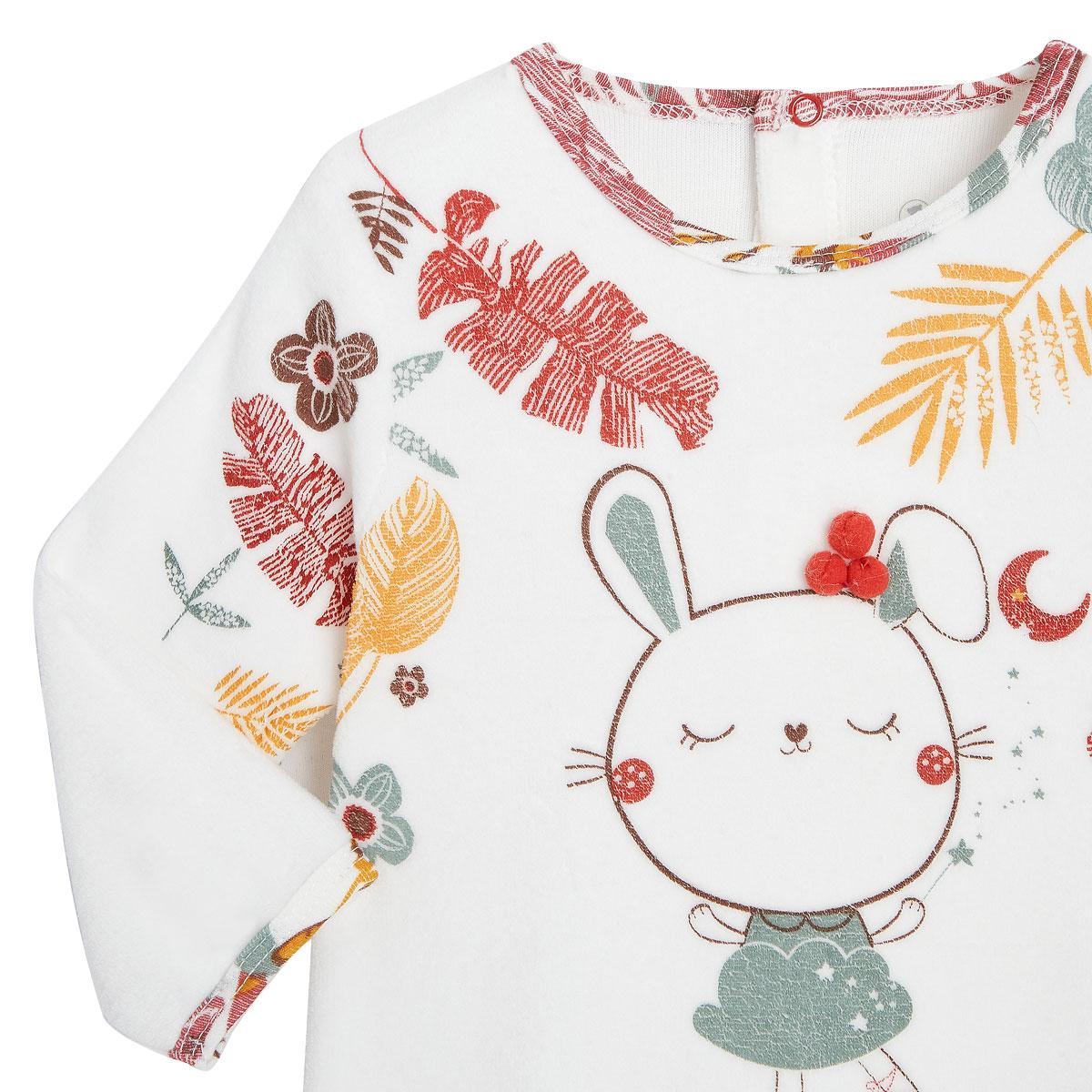 Pyjama bébé en velours contenant du coton bio BonjourAmour zoom