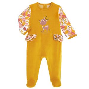 Pyjama bébé en velours contenant du coton bio Papaye