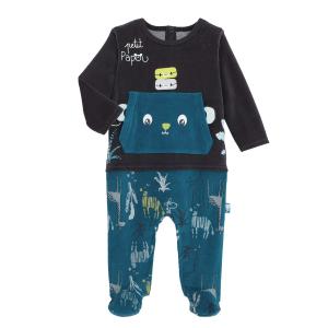 Pyjama bébé en velours contenant du coton bio Papouazi
