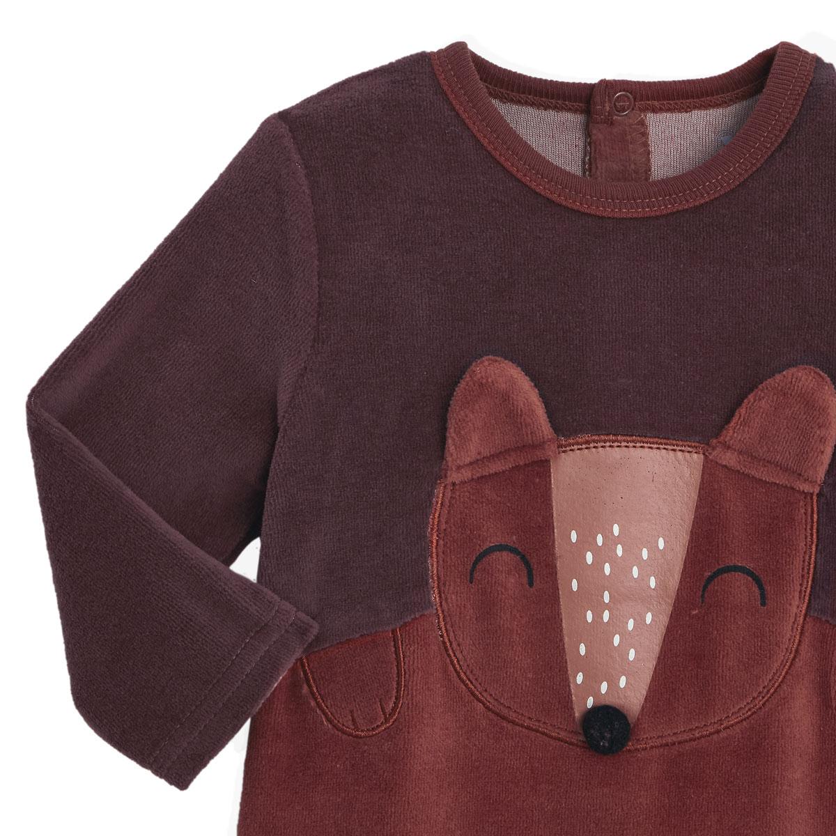Pyjama bébé en velours contenant du coton bio Loupfoque zoom