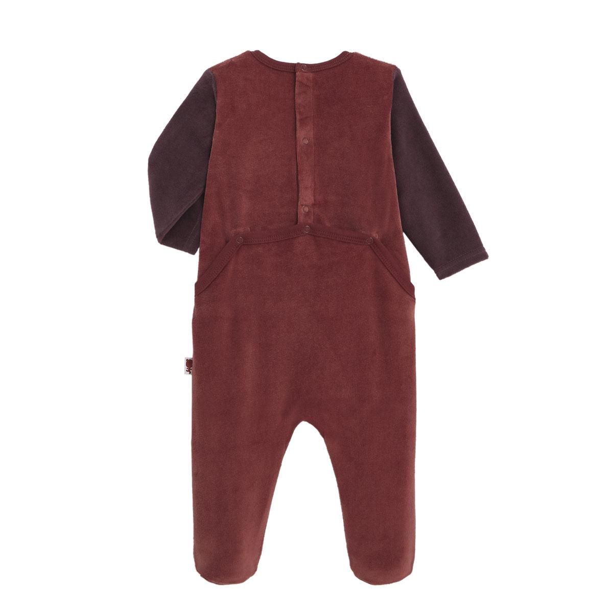 Pyjama bébé en velours contenant du coton bio Loupfoque dos