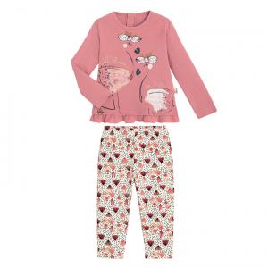 Pyjama fille manches longues Flemme en rose