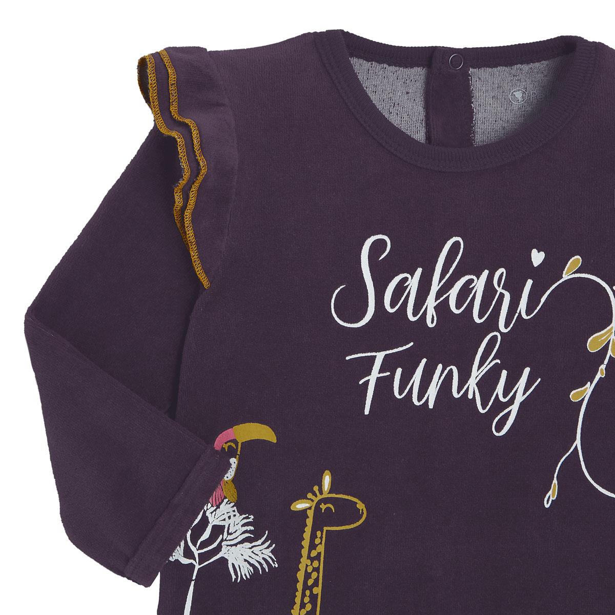 Pyjama bébé en velours contenant du coton bio Funky Safari zoom