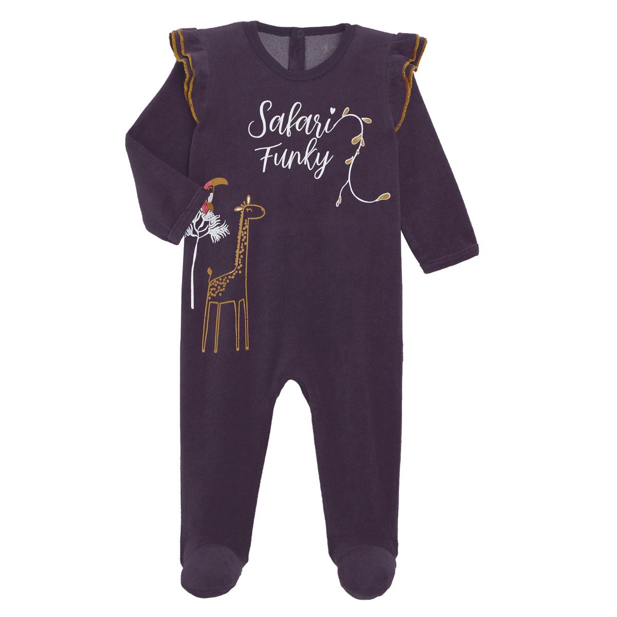 Pyjama bébé en velours contenant du coton bio Funky Safari