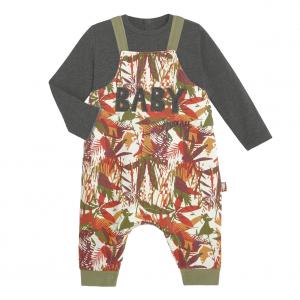 T-shirt et salopette garçon contenant du coton gratté bio Baby Jumpy