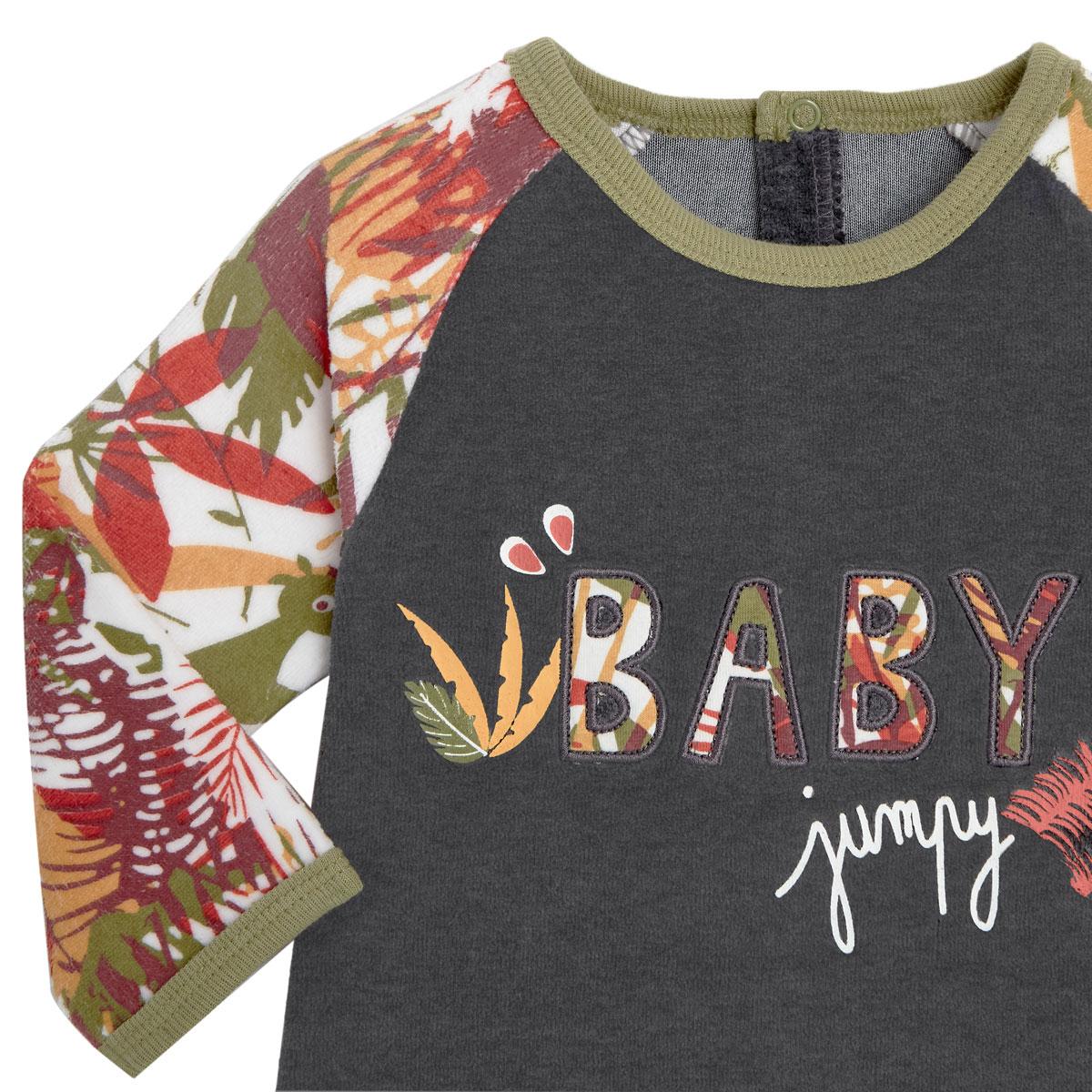 Pyjama bébé en velours contenant du coton bio Baby Jumpy zoom