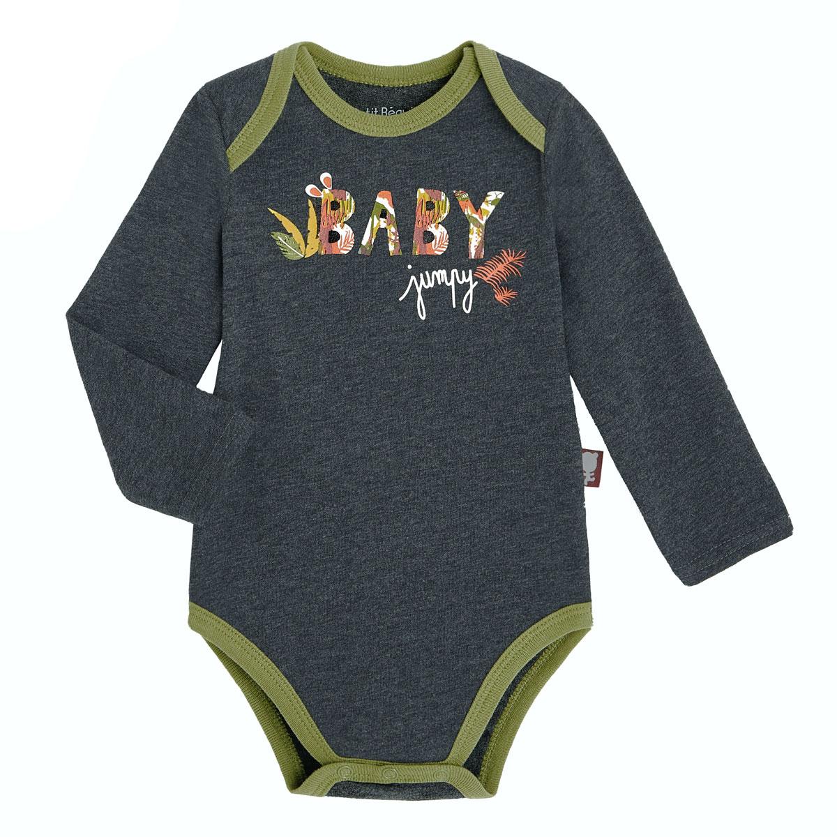 Lot de 2 bodies bébé garçon manches longues contenant du coton bio Baby Jumpy 2