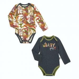 Lot de 2 bodies bébé garçon manches longues contenant du coton bio Baby Jumpy