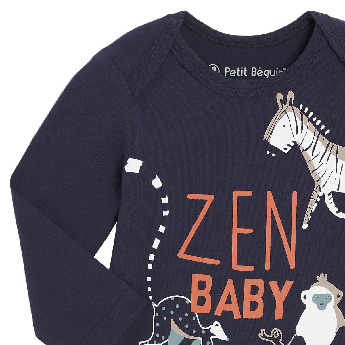Lot de 2 bodies bébé garçon manches longues Baby Zen bleu zoom
