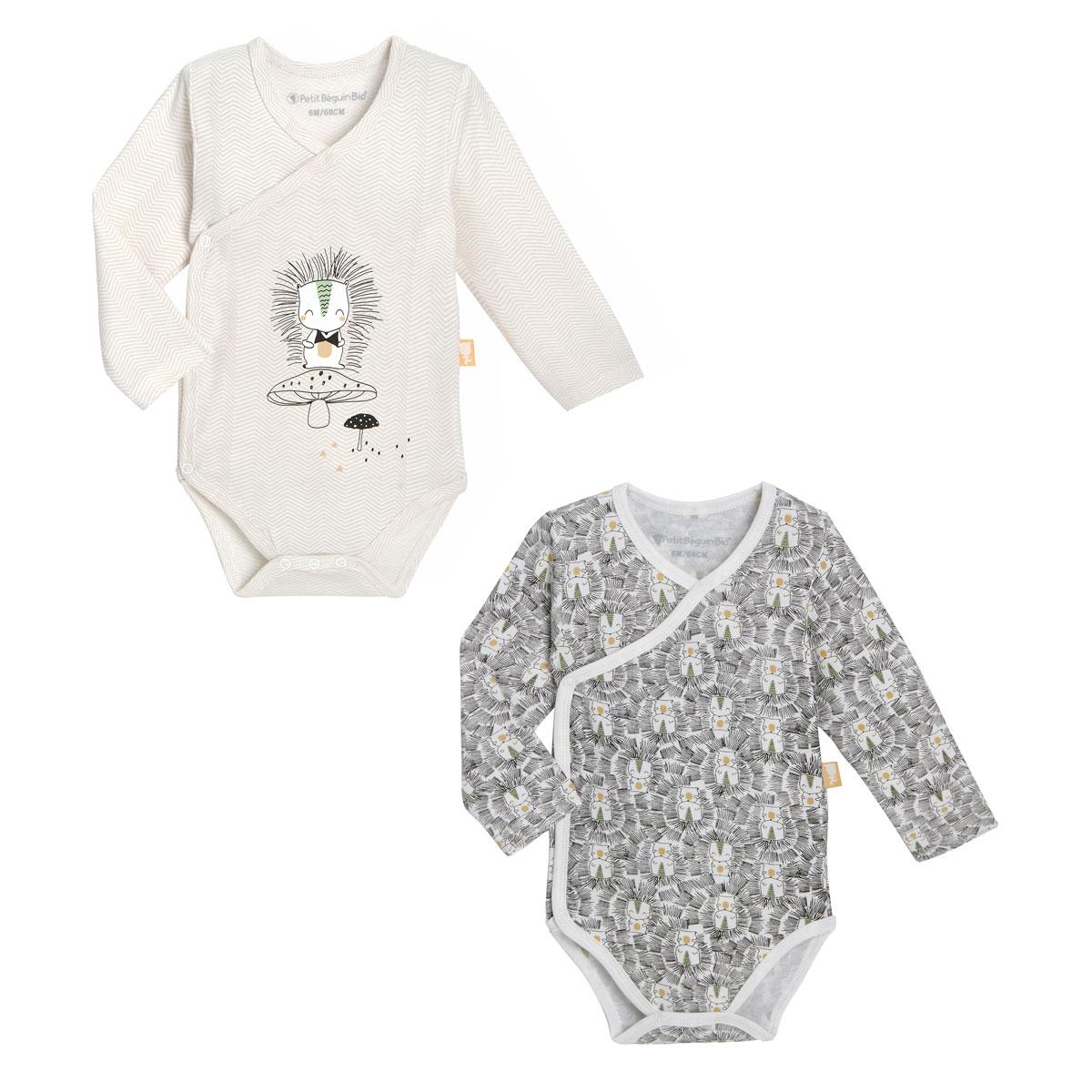 Lot de 2 bodies bébé mixte croisés manches longues contenant du coton bio Shuiro