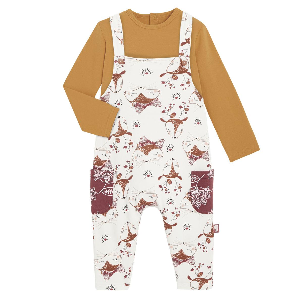 Salopette fille en coton gratté et t-shirt Amaya
