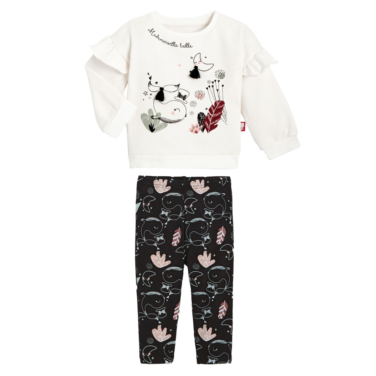 Sweat-shirt fille en coton gratté et legging Bulle
