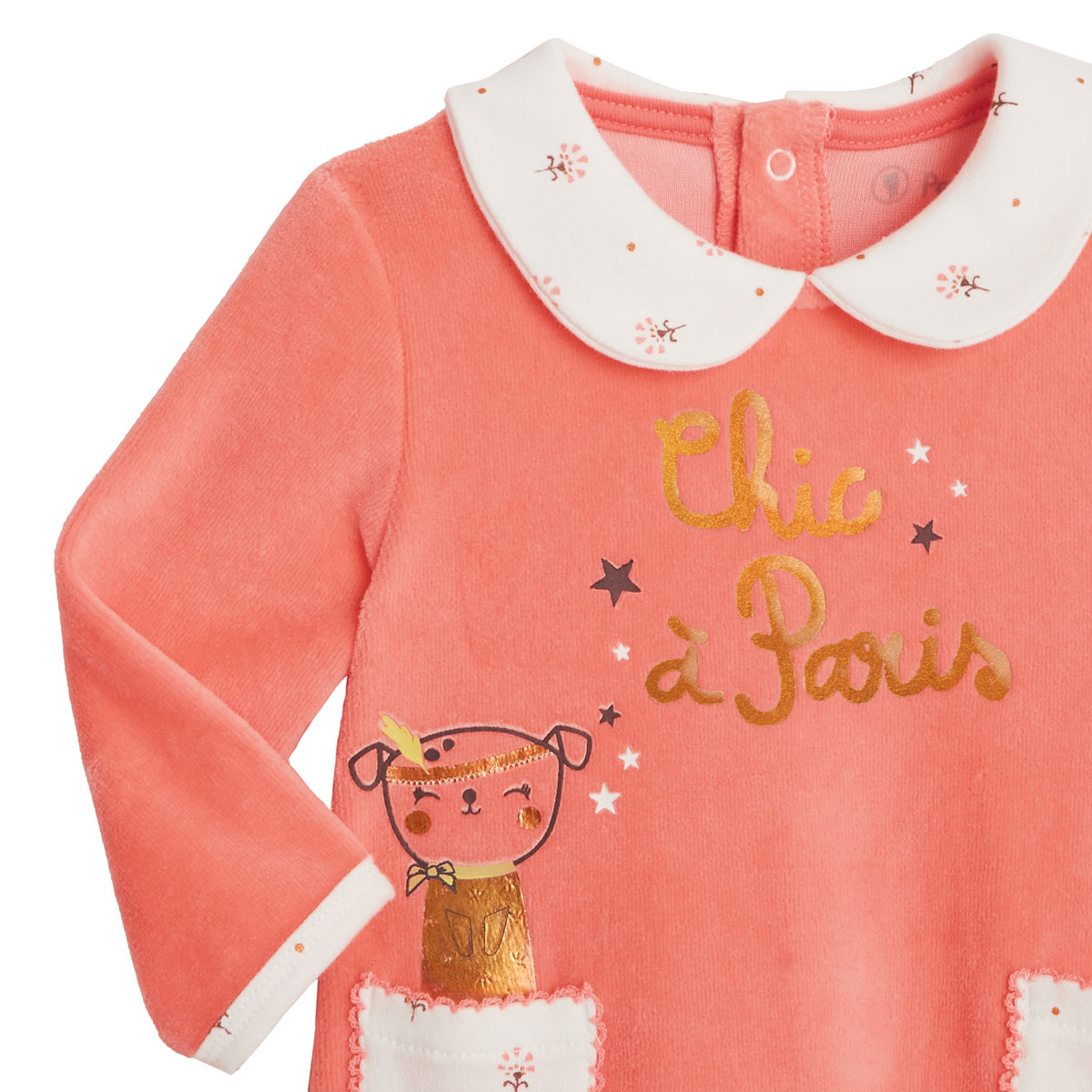 Pyjama bébé velours Chic à Paris zoom