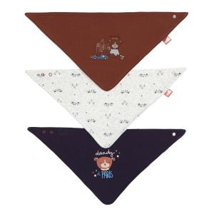Lot de 3 bavoirs foulards bébé garçon Dandy Dog