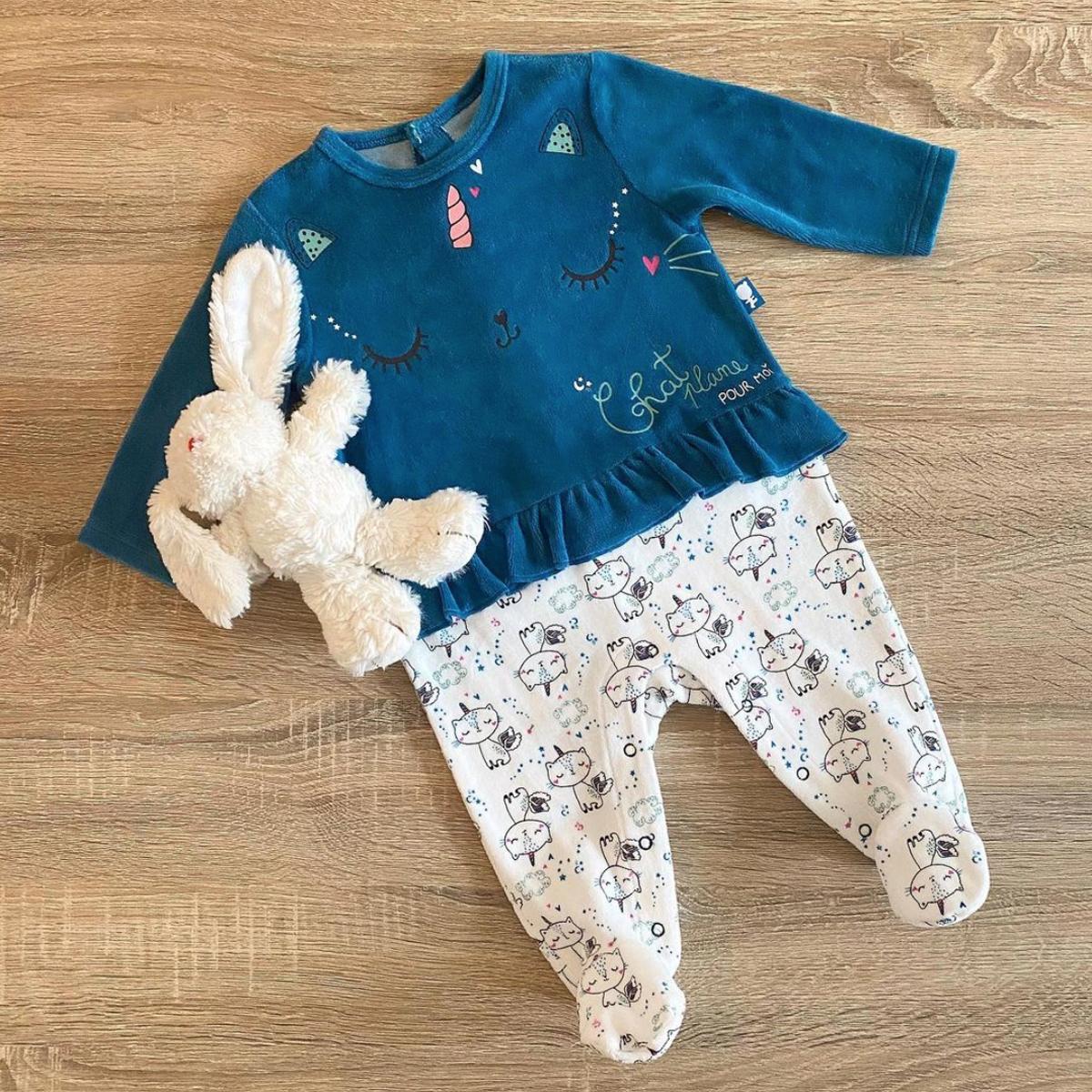 Pyjama bébé en velours contenant du coton bio Chat Plane nature morte