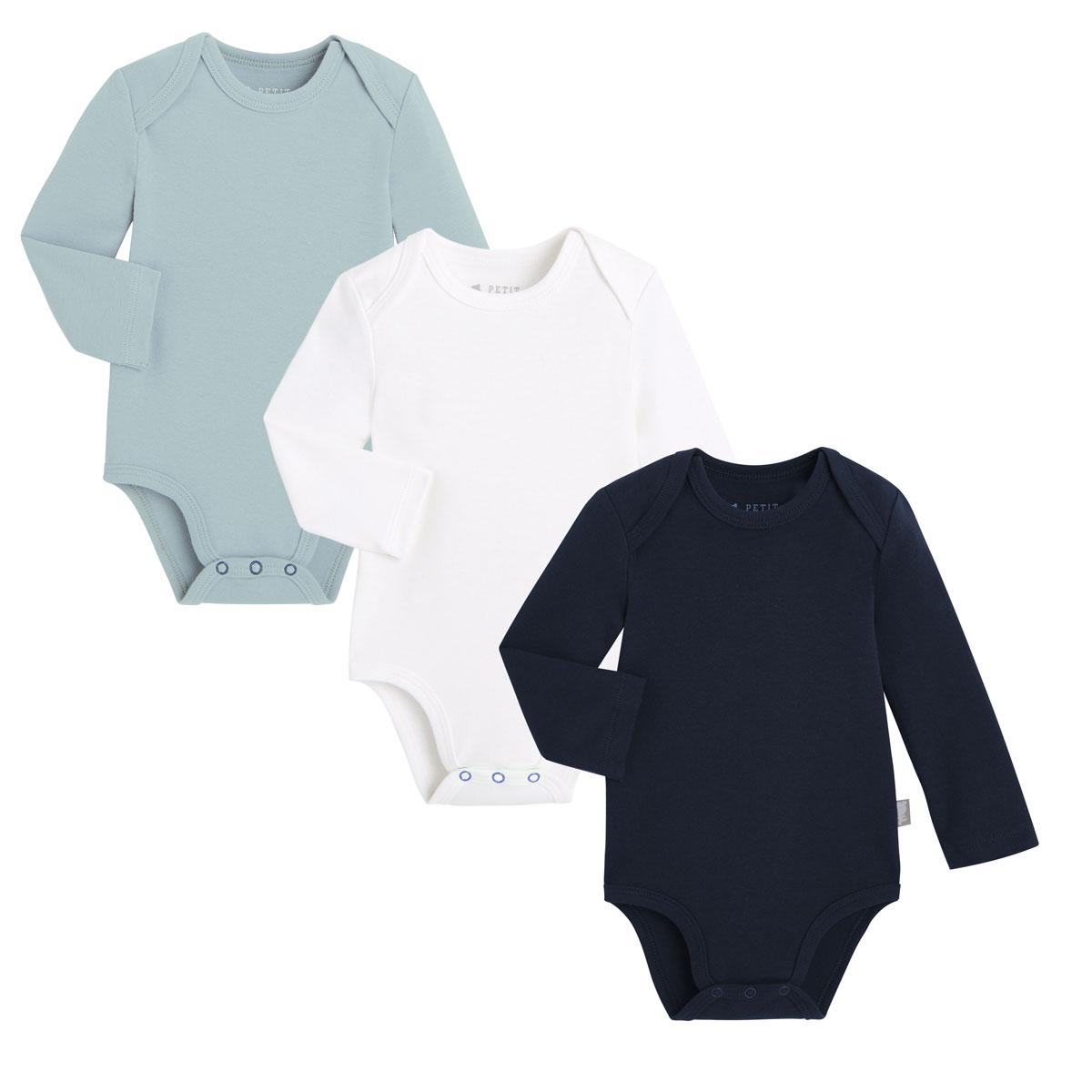 Lot de 3 bodies bébé manches longues