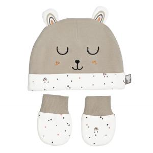 Bonnet + moufles anti-griffures bébé mixte en coton bio Love Me 0/3M