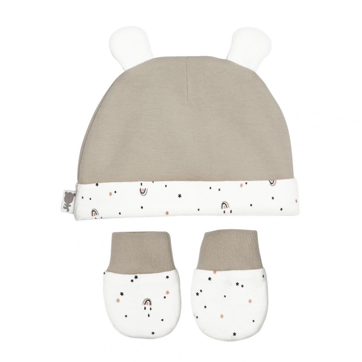 Bonnet + moufles anti-griffures bébé mixte en coton bio Love Me 0/3M dos