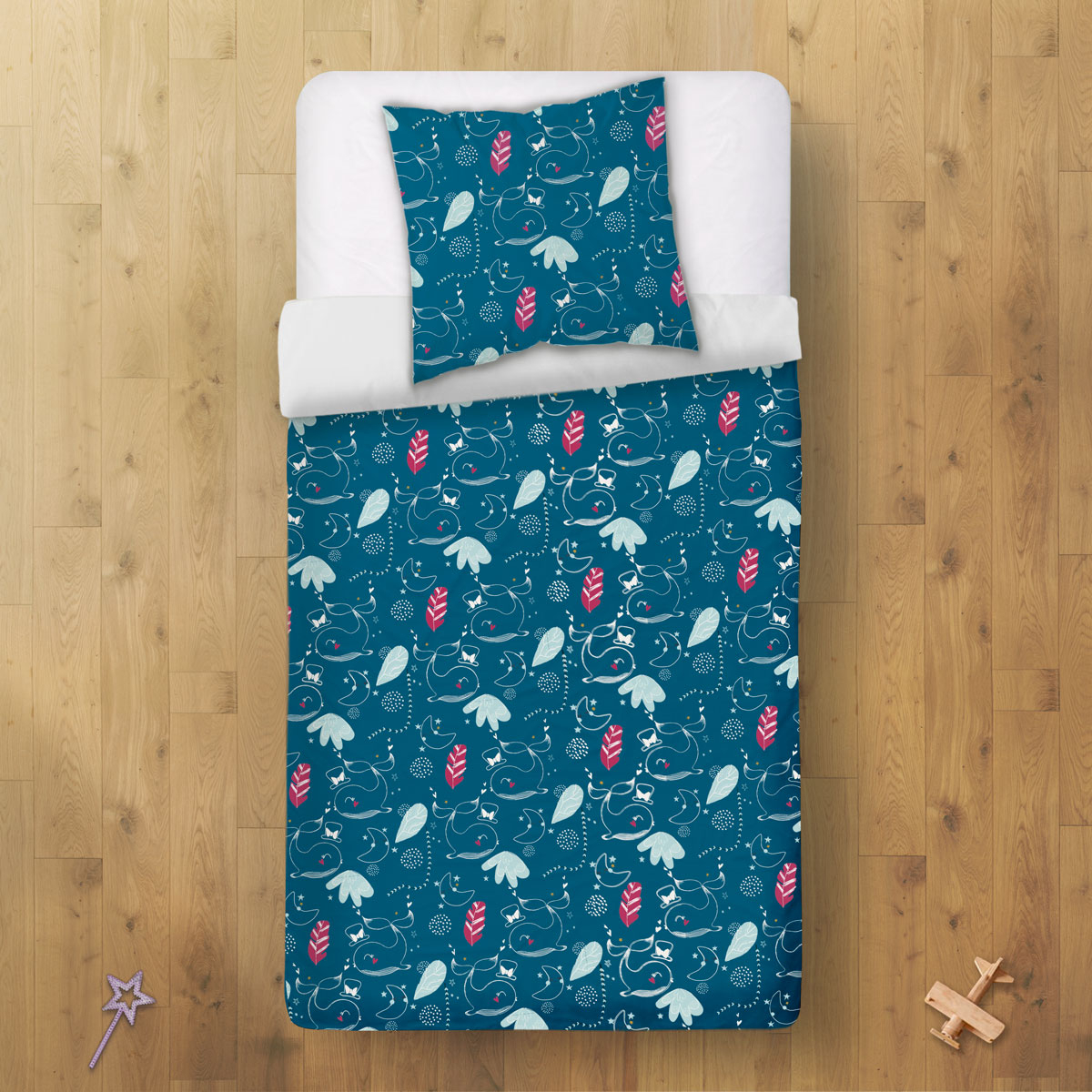 Housse de couette enfant + taie d'oreiller Bulle (140 x 200 cm) dos