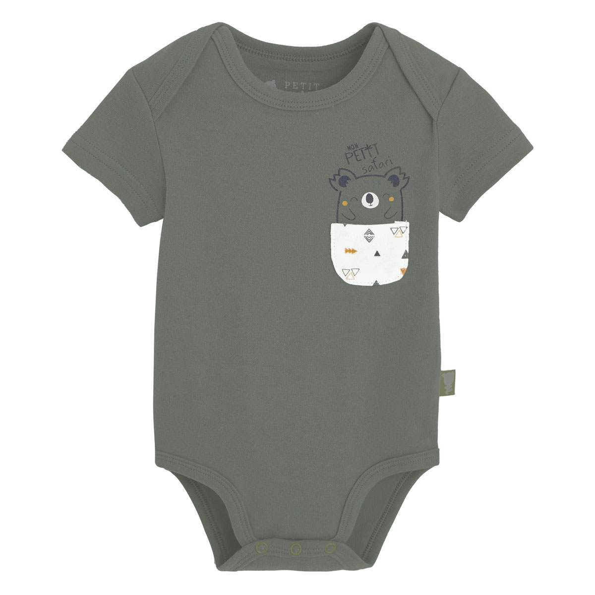 Lot de 2 bodies bébé garçon manches courtes Petit Safari kaki