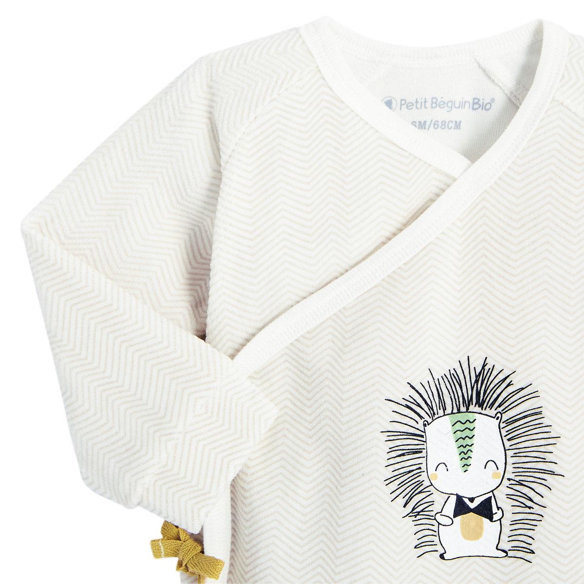 Ensemble gilet croisé et pantalon bébé mixte contenant du coton bio Shuiro zoom