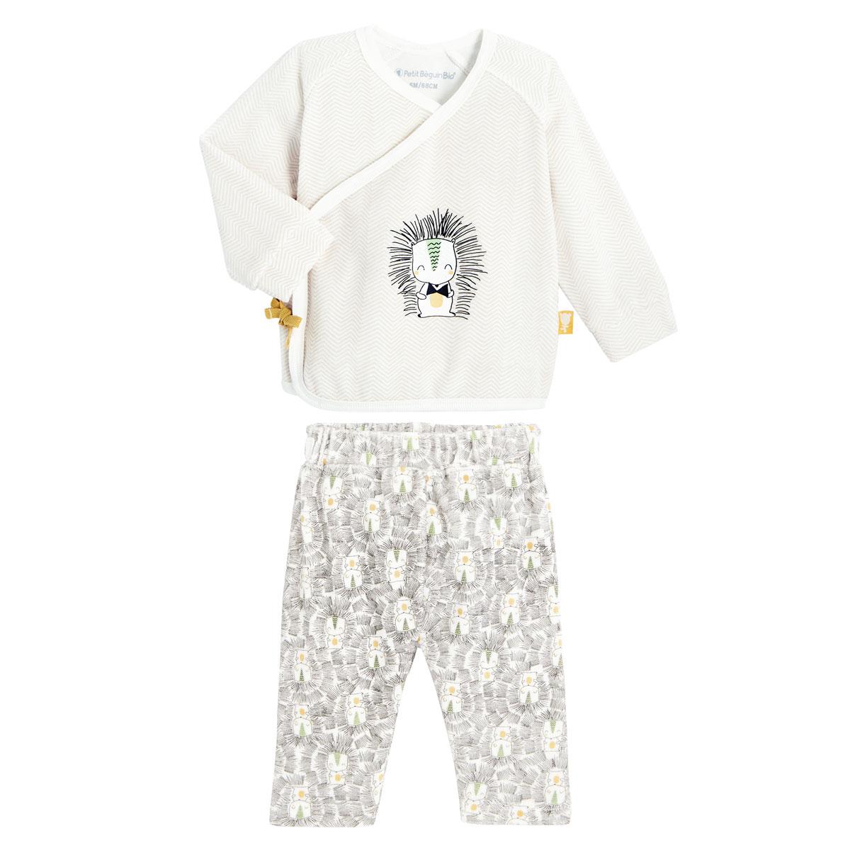 Ensemble gilet croisé et pantalon bébé mixte contenant du coton bio Shuiro