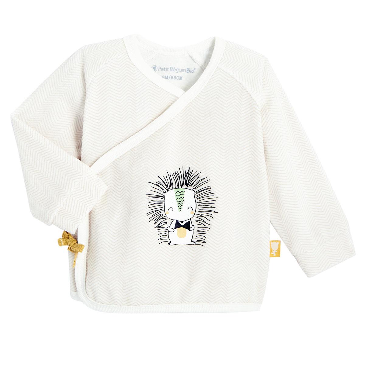 Ensemble gilet croisé et pantalon bébé mixte contenant du coton bio Shuiro haut