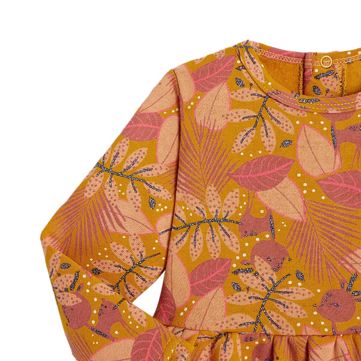 Robe fille en molleton, legging et bandeau contenant du coton bio Papaye zoom