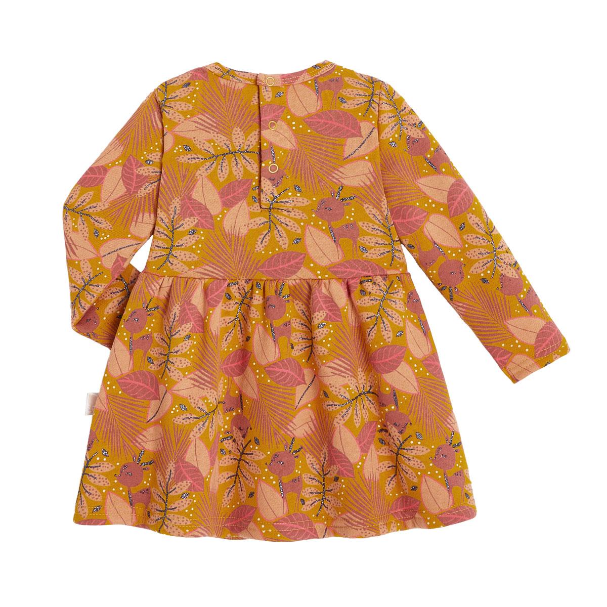 Robe fille en molleton, legging et bandeau contenant du coton bio Papaye dos