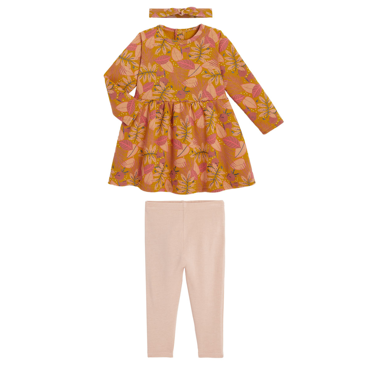 Robe fille en molleton, legging et bandeau contenant du coton bio Papaye
