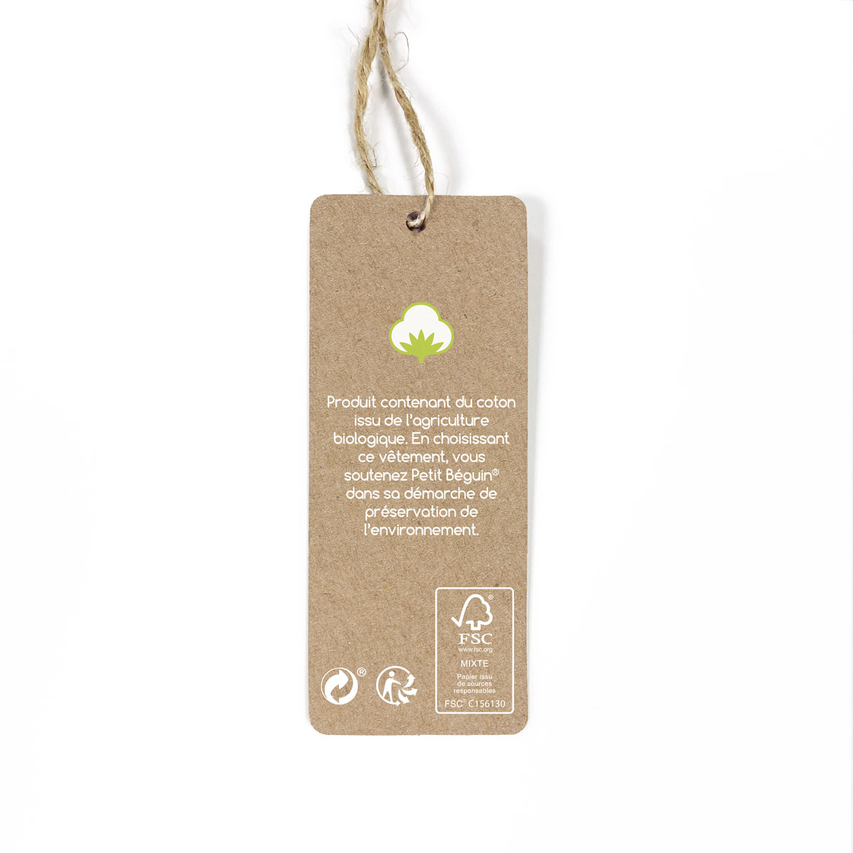 Turbulette d'hiver à pieds contenant du coton bio Shuiro étiquette
