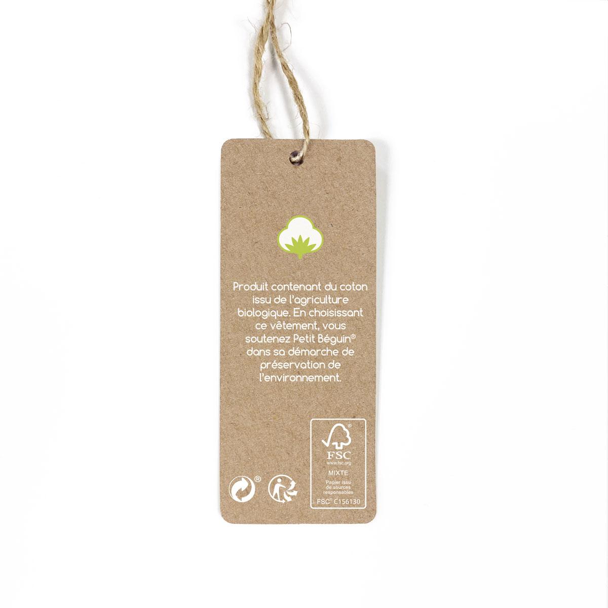 Gigoteuse d'hiver en velours contenant du coton bio Papouazi étiquette