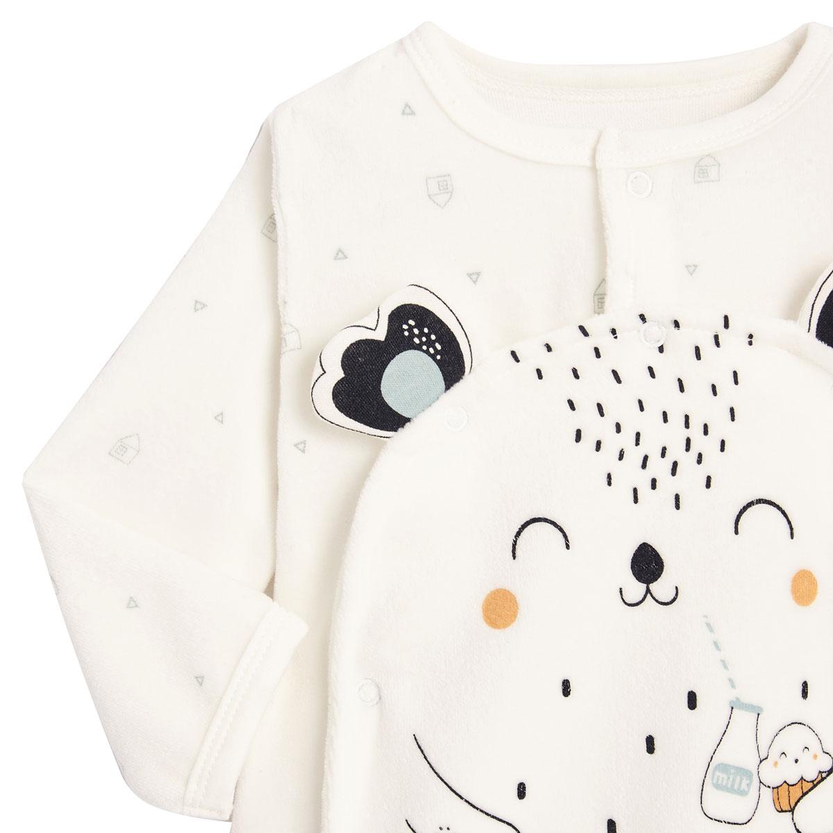 Pyjama bébé mixte en velours contenant du coton bio Bonheur du matin zoom