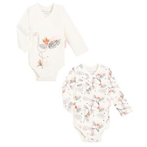 Lot de 2 bodies bébé fille croisés manches longues contenant du coton bio Exotic Bird