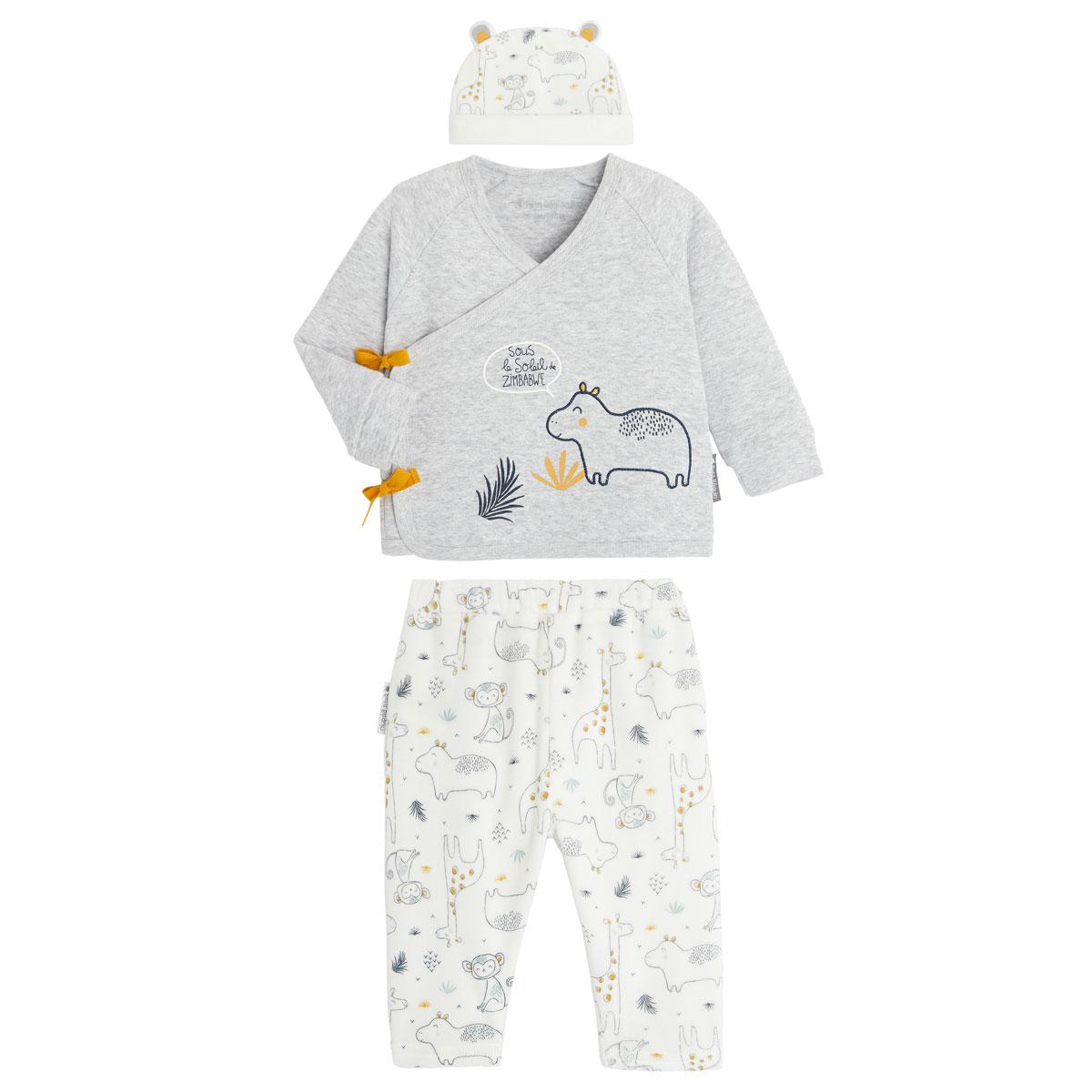 Ensemble bébé garçon gilet croisé et pantalon contenant du coton bio Sous le soleil