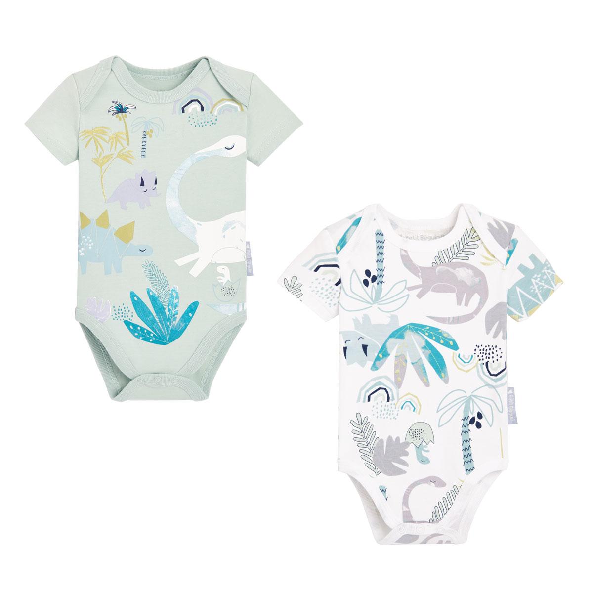 Lot de 2 bodies bébé garçon manches courtes contenant du coton bio Dinokoko