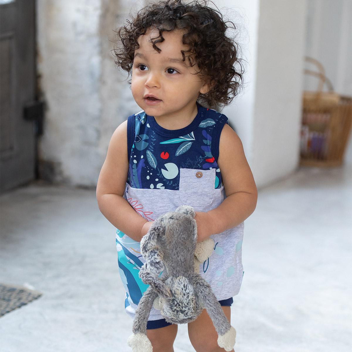 Barboteuse bébé garçon contenant du coton bio Sea You au porté