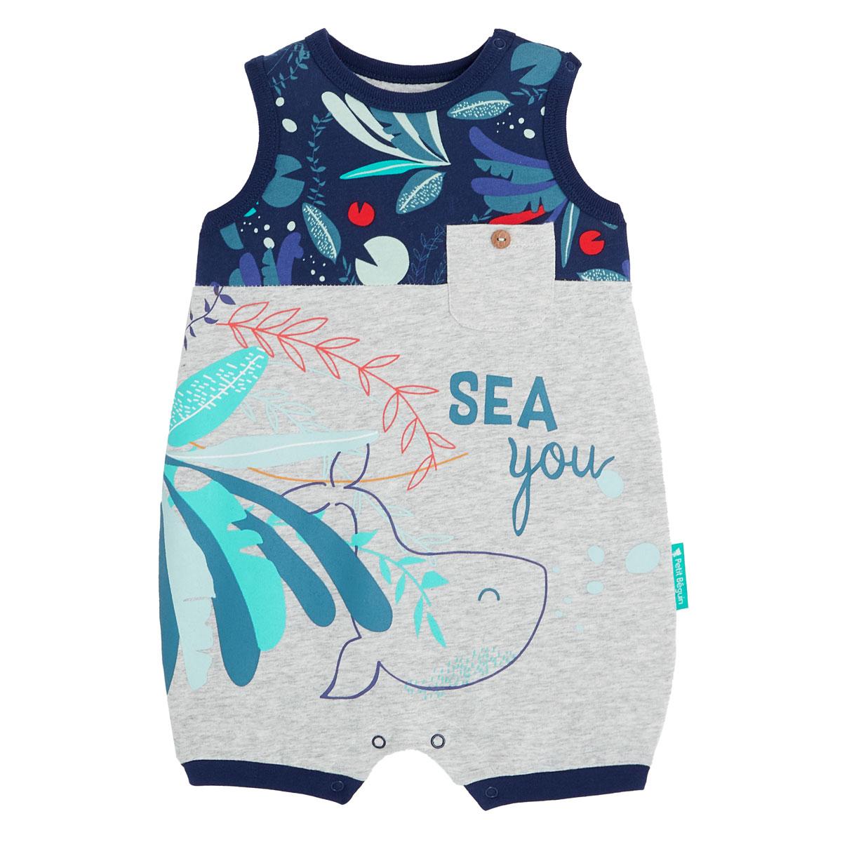 Barboteuse bébé garçon contenant du coton bio Sea You