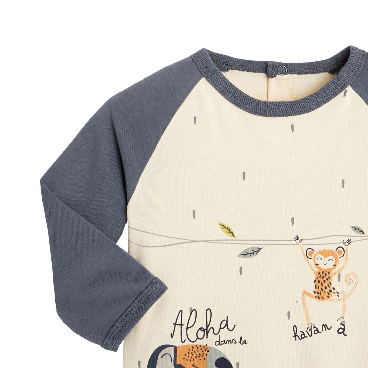 Pyjama bébé contenant du coton bio Aloha Havana zoom