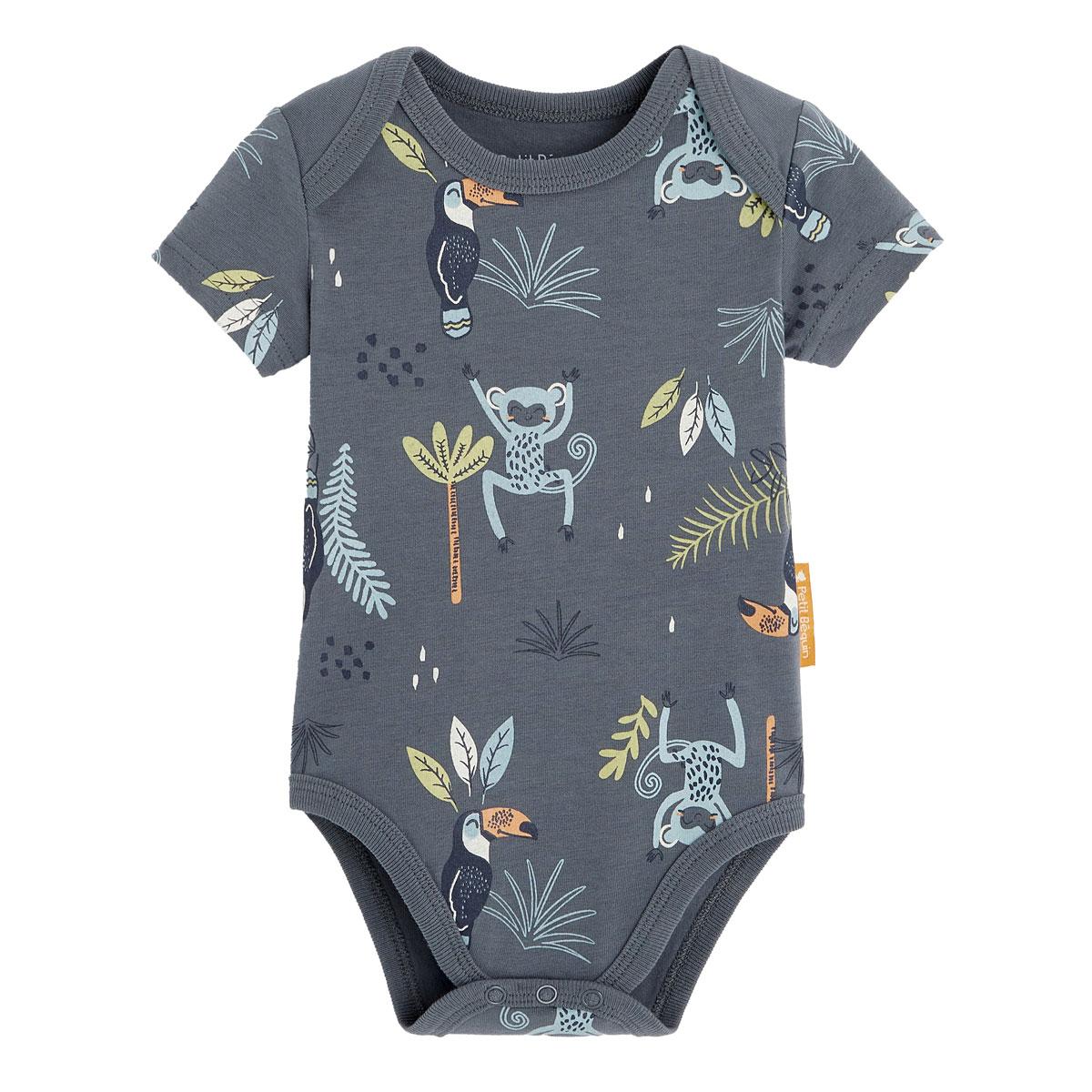 Lot de 2 bodies bébé garçon manches courtes contenant du coton bio Aloha Havana all over zoom