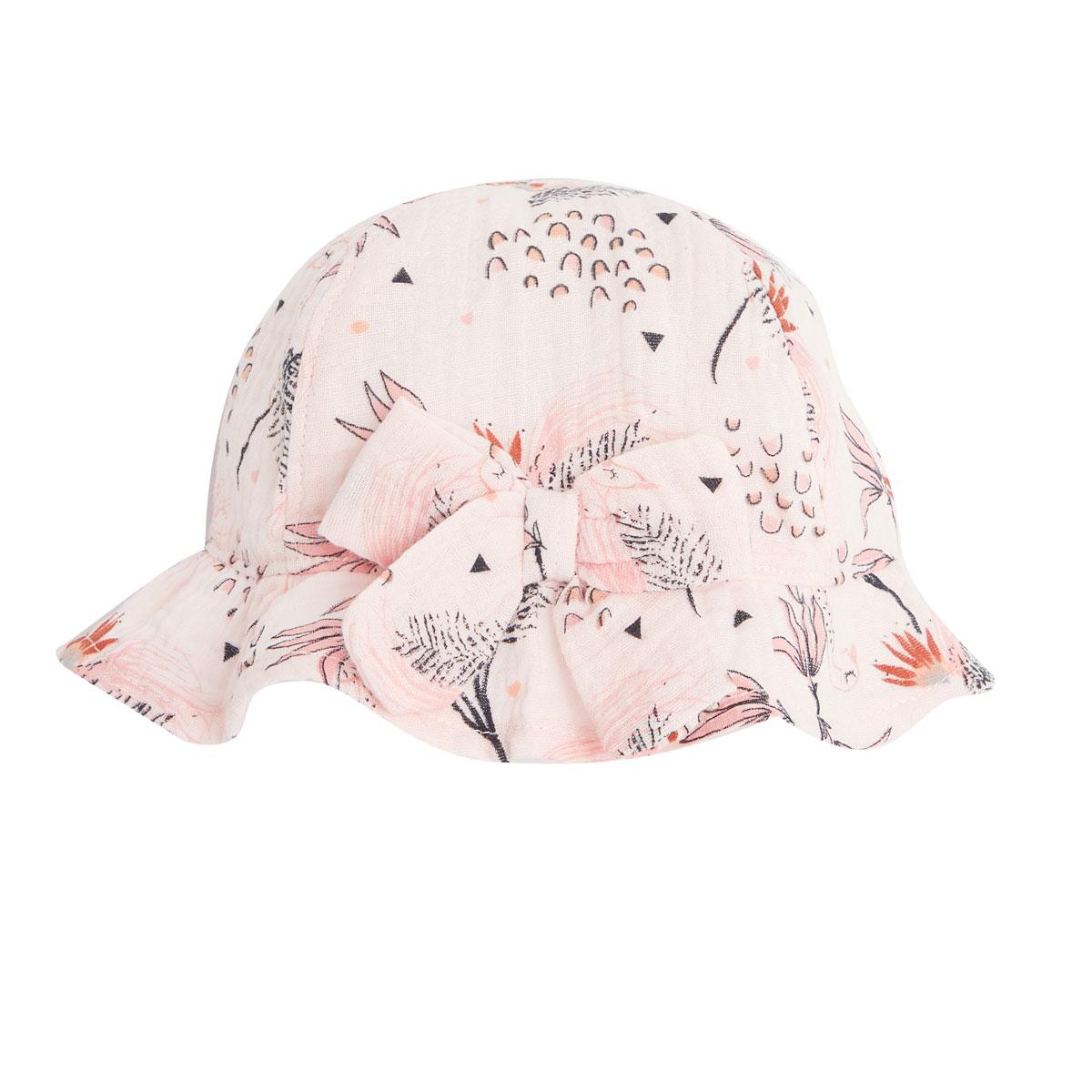 Barboteuse bébé fille et chapeau en gaze de coton bio Exotic Bird chapeau