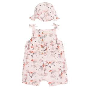 Barboteuse bébé fille et chapeau en gaze de coton bio Exotic Bird