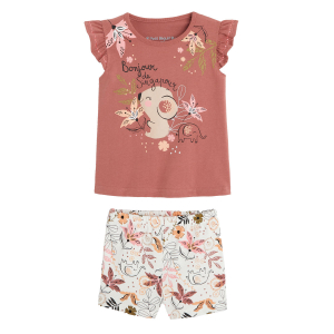Pyjama fille manches courtes en coton bio Singa